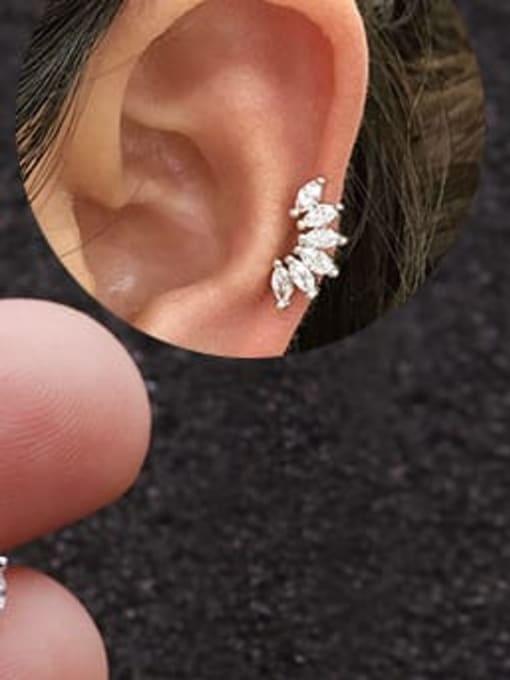 HISON Brass Cubic Zirconia Flower Cute Stud Earring 1