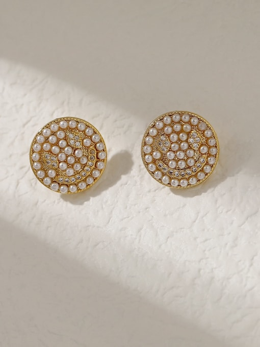 HYACINTH Brass Imitation Pearl Smiley Vintage Stud Trend Korean Fashion Earring 0