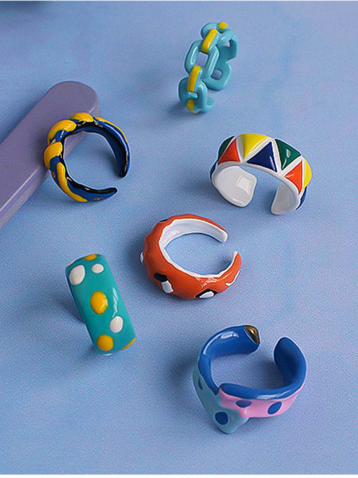 Five Color Zinc Alloy Enamel Irregular Minimalist Band Ring 0