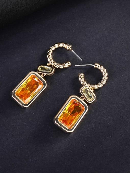 OUOU Brass Cubic Zirconia Geometric Luxury Hook Earring 0