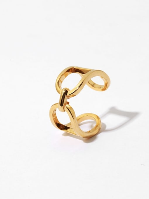 TINGS Brass Hollow Geometric Vintage Band Ring