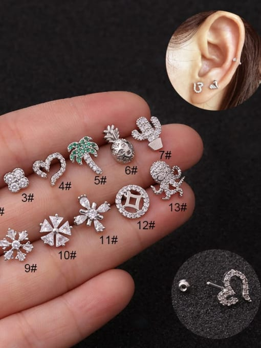 HISON Brass Cubic Zirconia Flower Cute Single Earring