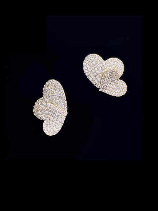 SUUTO Brass Cubic Zirconia Heart Vintage Stud Earring