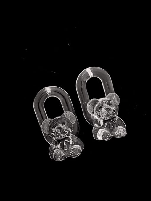 SUUTO Brass Resin Bear Hip Hop Stud Earring 1