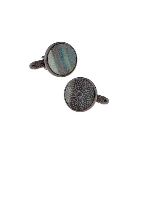 ThreeLink Brass Shell Geometric Vintage Cuff Link 2