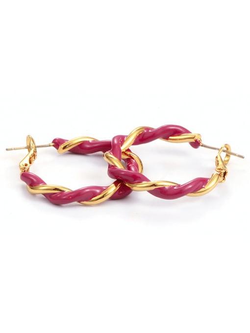 Five Color Brass Enamel Geometric Minimalist Hoop Earring 2