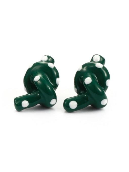 Green Earrings Brass Enamel  knot Minimalist Stud Earring