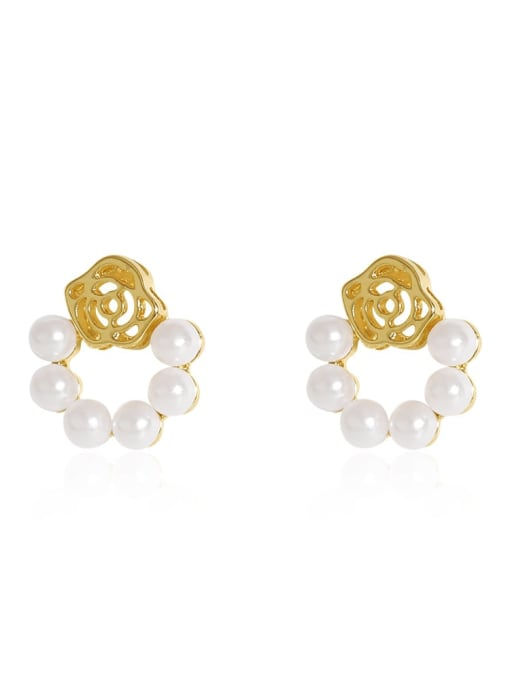 HYACINTH Brass Imitation Pearl Flower Vintage Drop Earring