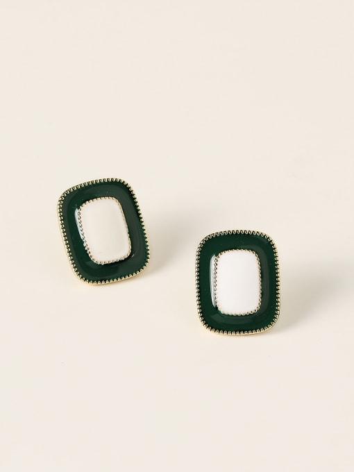 14K gold ink green Brass Enamel Geometric Vintage Stud Earring