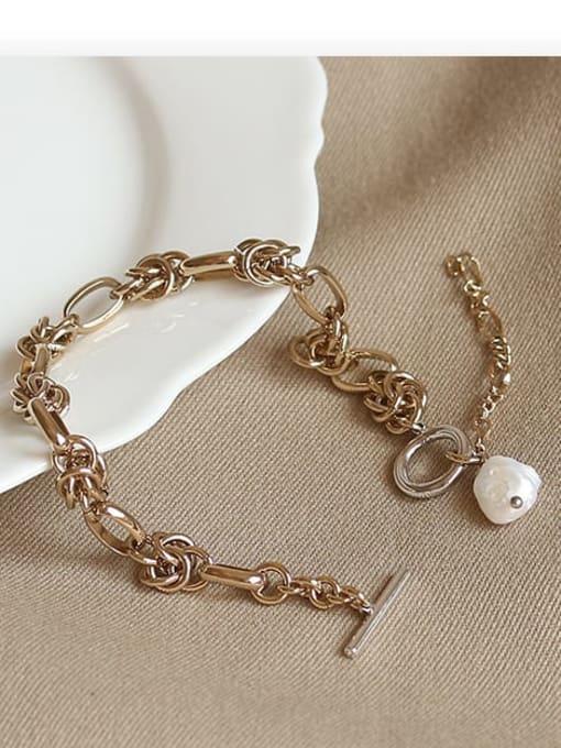 ACCA Brass Freshwater Pearl Geometric Vintage Bracelet 2