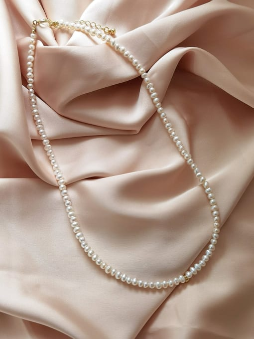 HYACINTH Brass Imitation Pearl Round Vintage Necklace 2