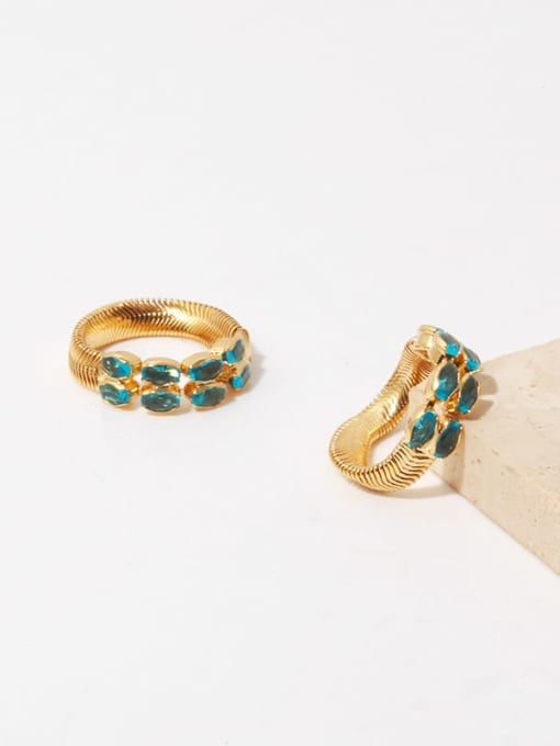TINGS Brass Malchite Geometric Vintage Band Ring 0