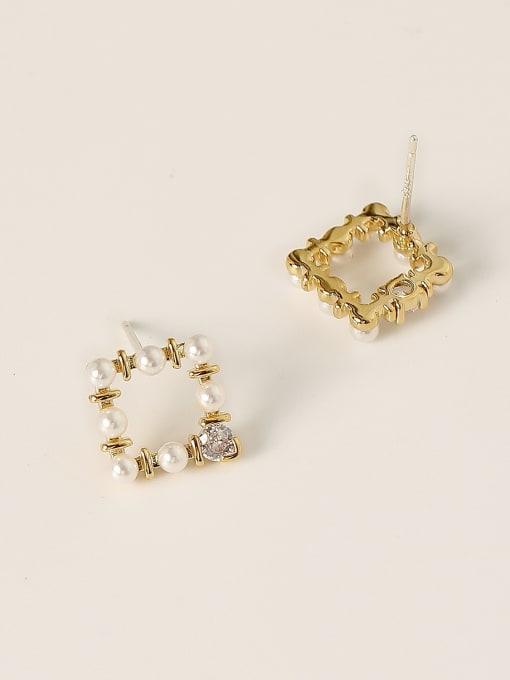 HYACINTH Brass Imitation Pearl Geometric Minimalist Stud Earring 3