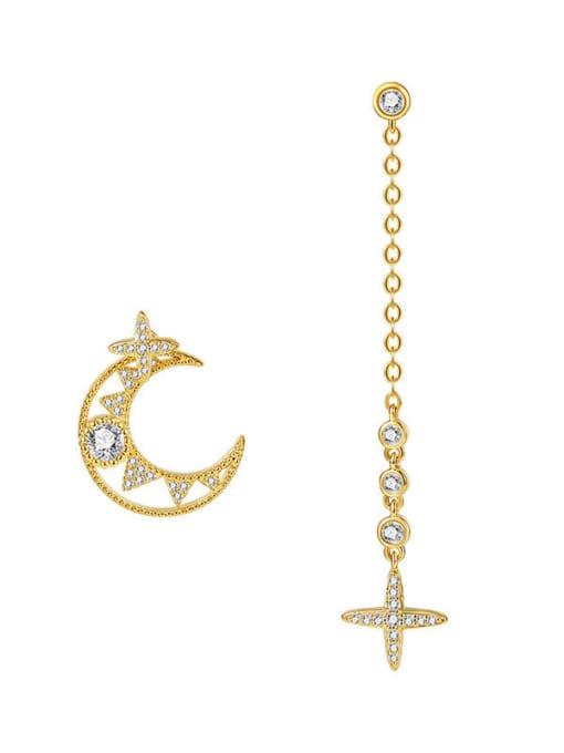 OUOU Brass Cubic Zirconia Minimalist Asymmetric moon tassel Drop Earring 3