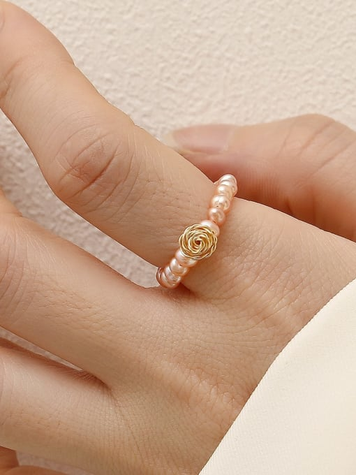 HYACINTH Brass Imitation Pearl Rosary Minimalist Band Fashion Ring 1