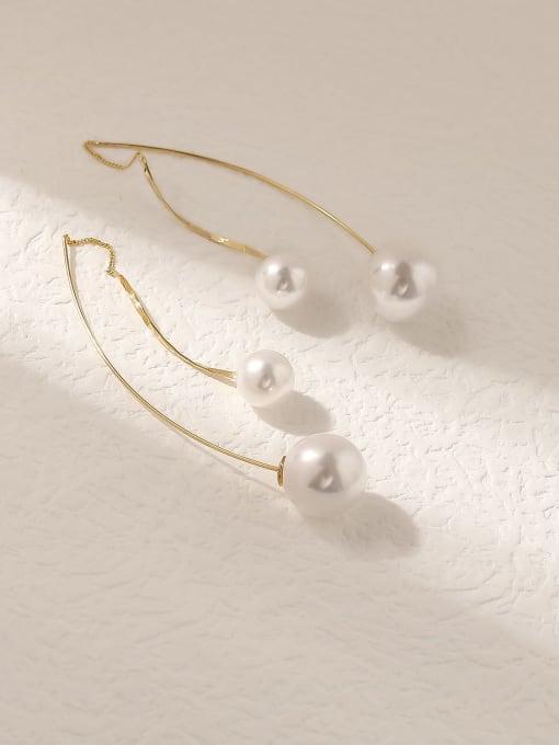 HYACINTH Brass Imitation Pearl Tassel Minimalist Hook Trend Korean Fashion Earring 3
