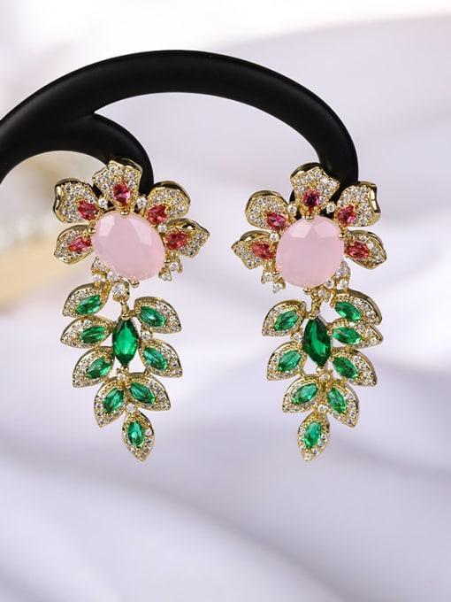 OUOU Brass Cubic Zirconia Flower Luxury Drop Earring 3