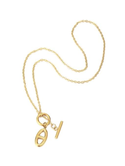 Five Color Brass Hollow Geometric Minimalist Necklace 0