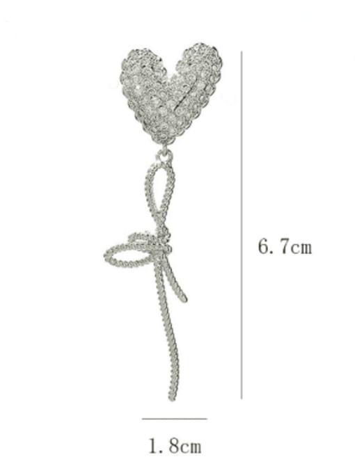 SUUTO Brass Cubic Zirconia Heart Luxury Threader Earring 2
