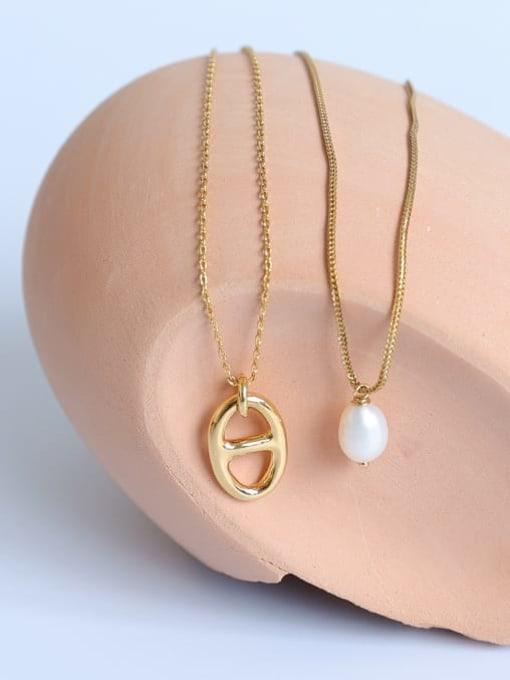 Five Color Brass Imitation Pearl Geometric Minimalist Necklace