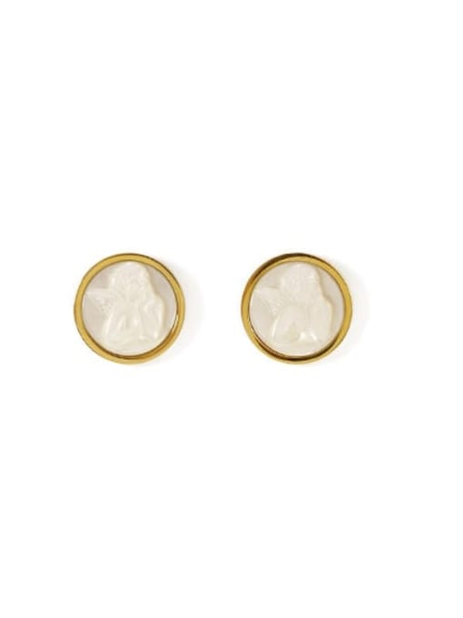 Round Brass Shell Round Vintage Stud Earring