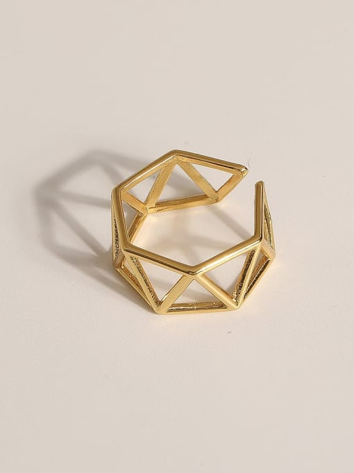JZ105 Brass Geometric Vintage Band Ring