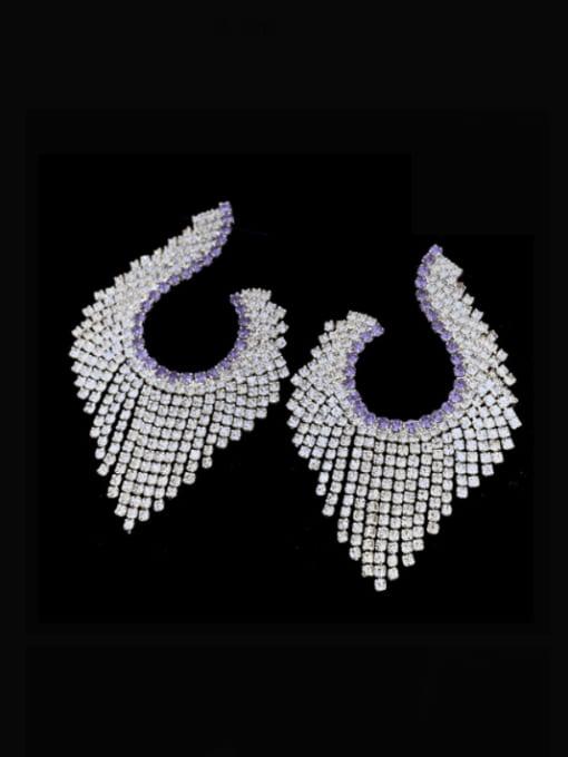 SUUTO Brass Cubic Zirconia Tassel Luxury Cluster Earring 0