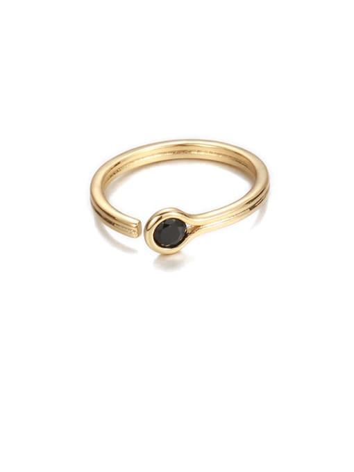 Black zircon Brass Rhinestone Rainbow Minimalist Band Ring