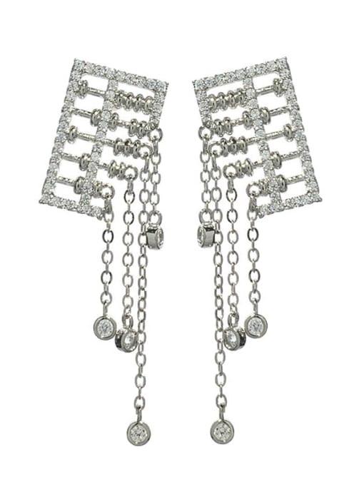 platinum Brass Cubic Zirconia Tassel Luxury Drop Earring