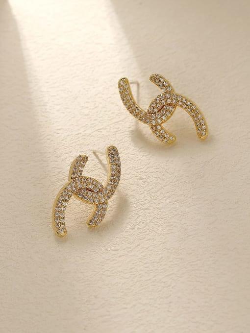 HYACINTH Brass Cubic Zirconia Geometric Vintage Stud Trend Korean Fashion Earring 3