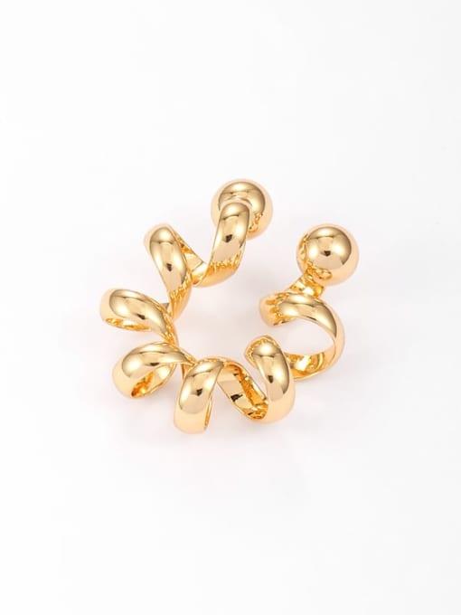 Gold (single ) Brass Geometric Hip Hop Single Earring
