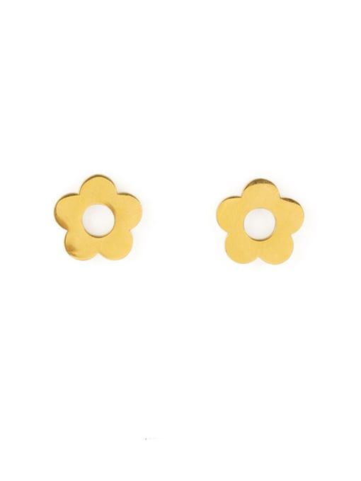 golden Titanium Flower Minimalist Stud Earring