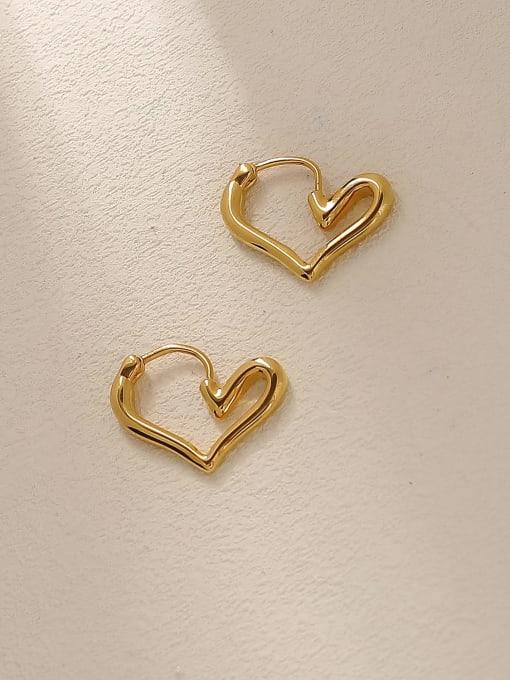 18K Gold Brass Hollow Heart Minimalist Huggie Trend Korean Fashion Earring
