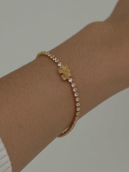 Five Color Brass Cubic Zirconia Geometric Hip Hop Bracelet 1