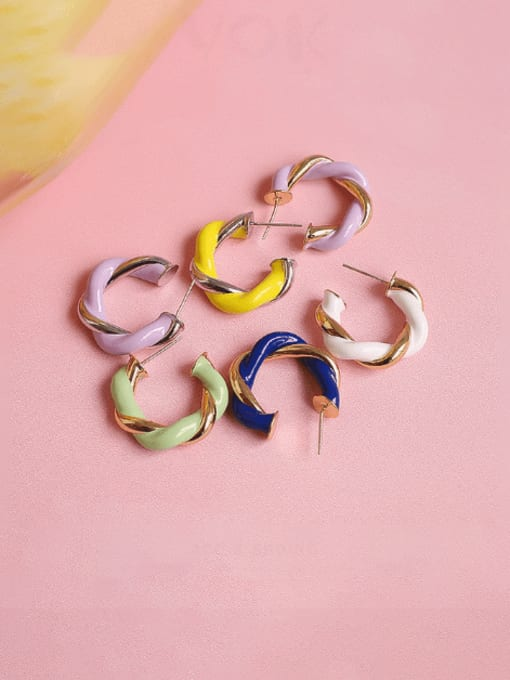 Five Color Brass Enamel Geometric Minimalist Single Earring
