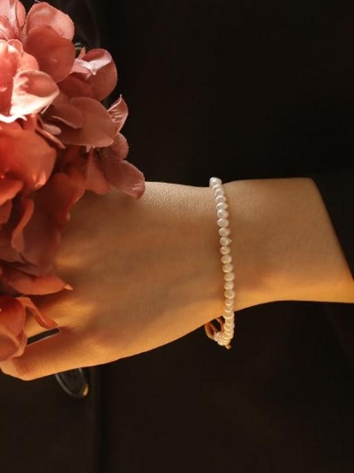 ACCA Brass Freshwater Pearl Geometric Vintage Bracelet 1
