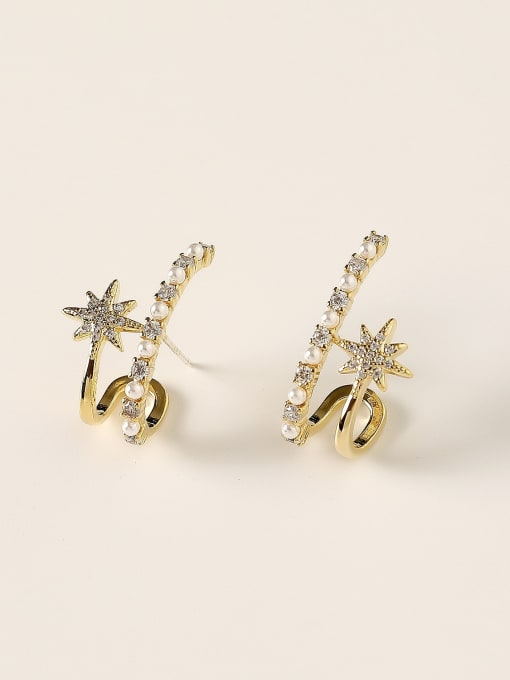 14k Gold Brass Imitation Pearl Geometric Trend Stud Earring