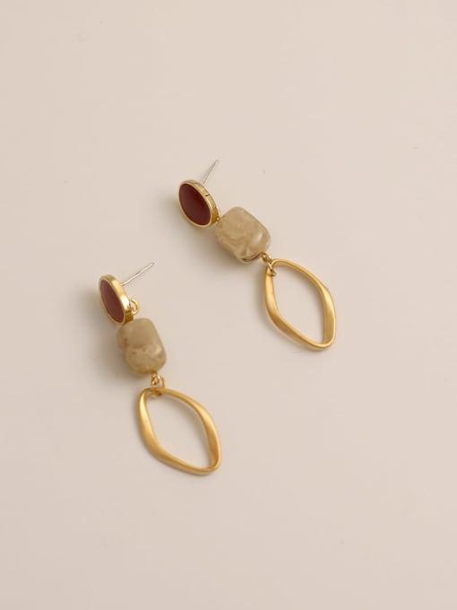 claret Brass Enamel Geometric Vintage Drop Earring