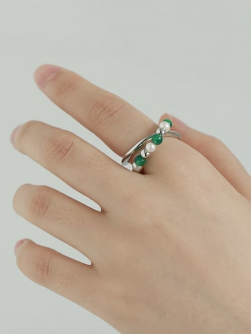 TINGS Brass Imitation Pearl Geometric Vintage Stackable Ring 1