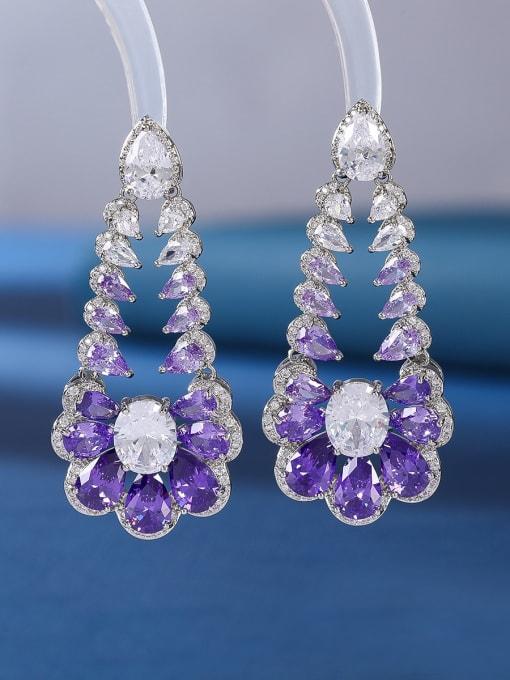 platinum+purple Brass Cubic Zirconia Flower Luxury Drop Earring