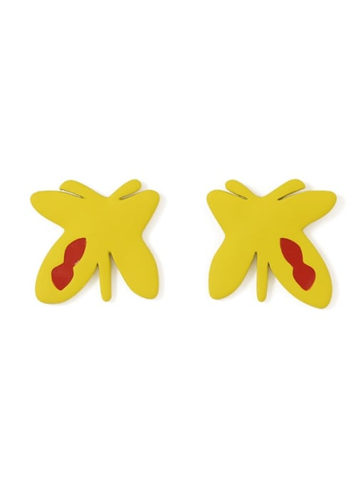 Five Color Alloy Enamel Butterfly Cute Stud Earring