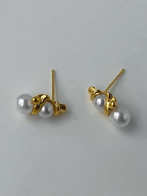 ACCA Brass Imitation Pearl Geometric Vintage Drop Earring 1