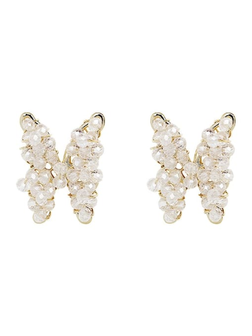 HYACINTH Brass Crystal Butterfly Ethnic Stud Earring 4