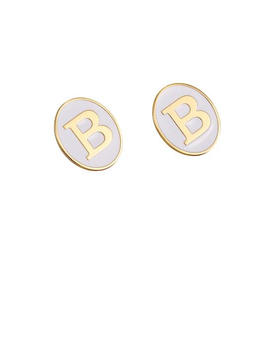 White oil drop Brass Enamel Letter Cute Stud Earring