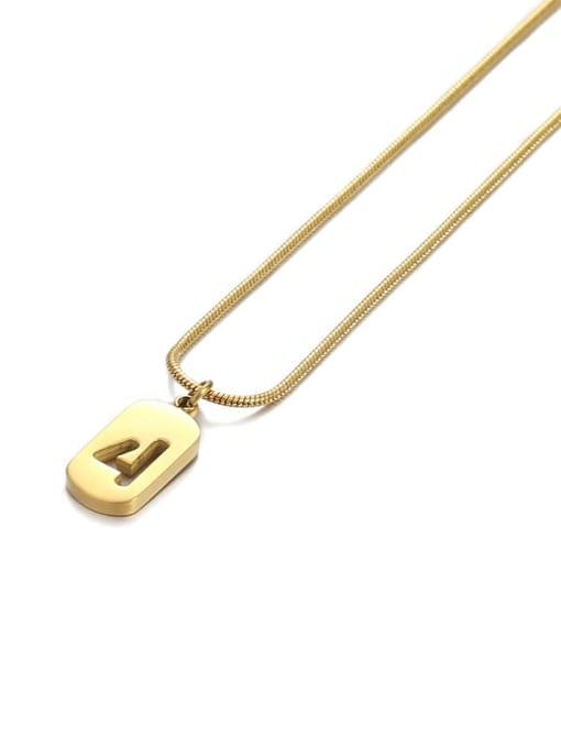 Number 4 Titanium Steel Number Minimalist Pendant Necklace