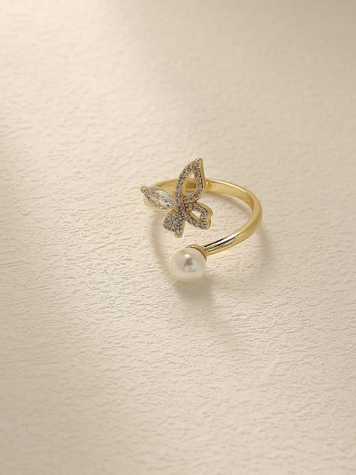 14k Gold Brass Cubic Zirconia Butterfly Vintage Band Fashion Ring
