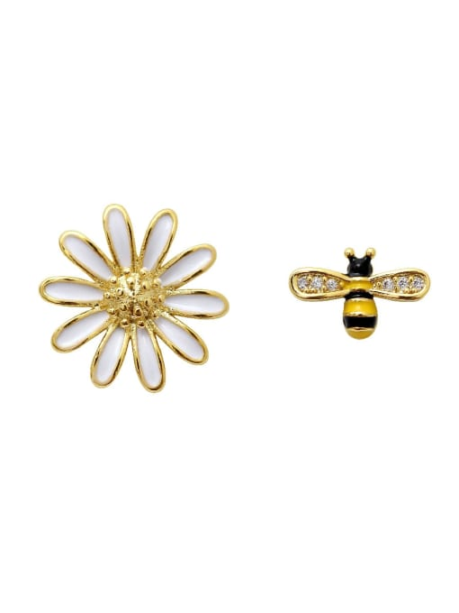 HYACINTH Copper Rhinestone Enamel Cute chrysanthemum Bee asymmetric Stud Earring
