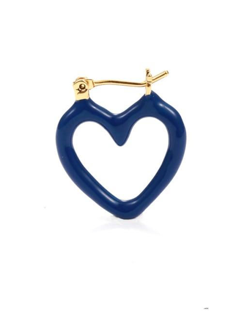 Five Color Brass Enamel Heart Minimalist Huggie Earring 2