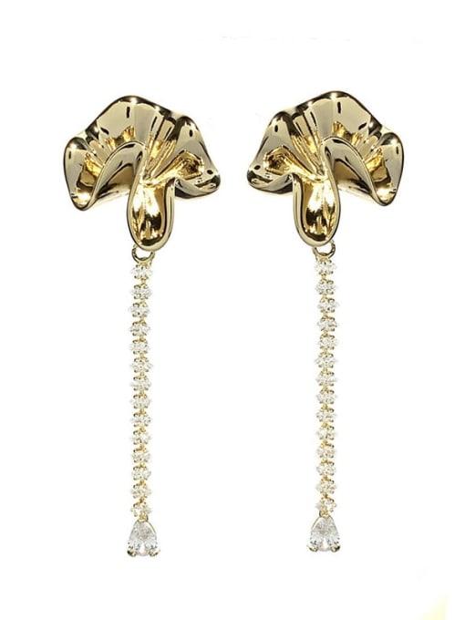 SUUTO Brass Cubic Zirconia Flower Vintage Drop Earring 2