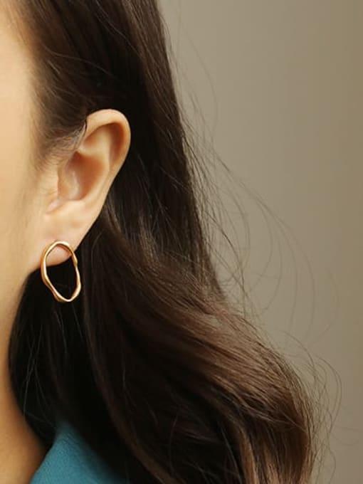 ACCA Brass  Hollow Geometric Vintage Hoop Earring 2